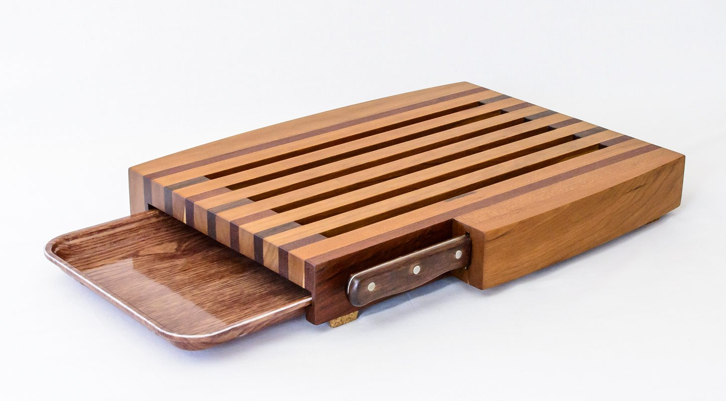 Breadboard with Knife and Tray — Back Isometric View