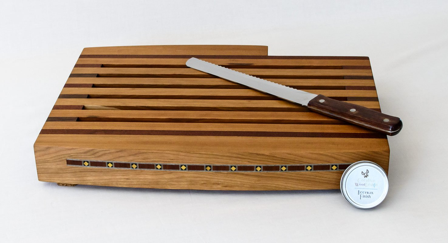 Breadboard with Knife and Tray | Front View with Knife and Tin Wax