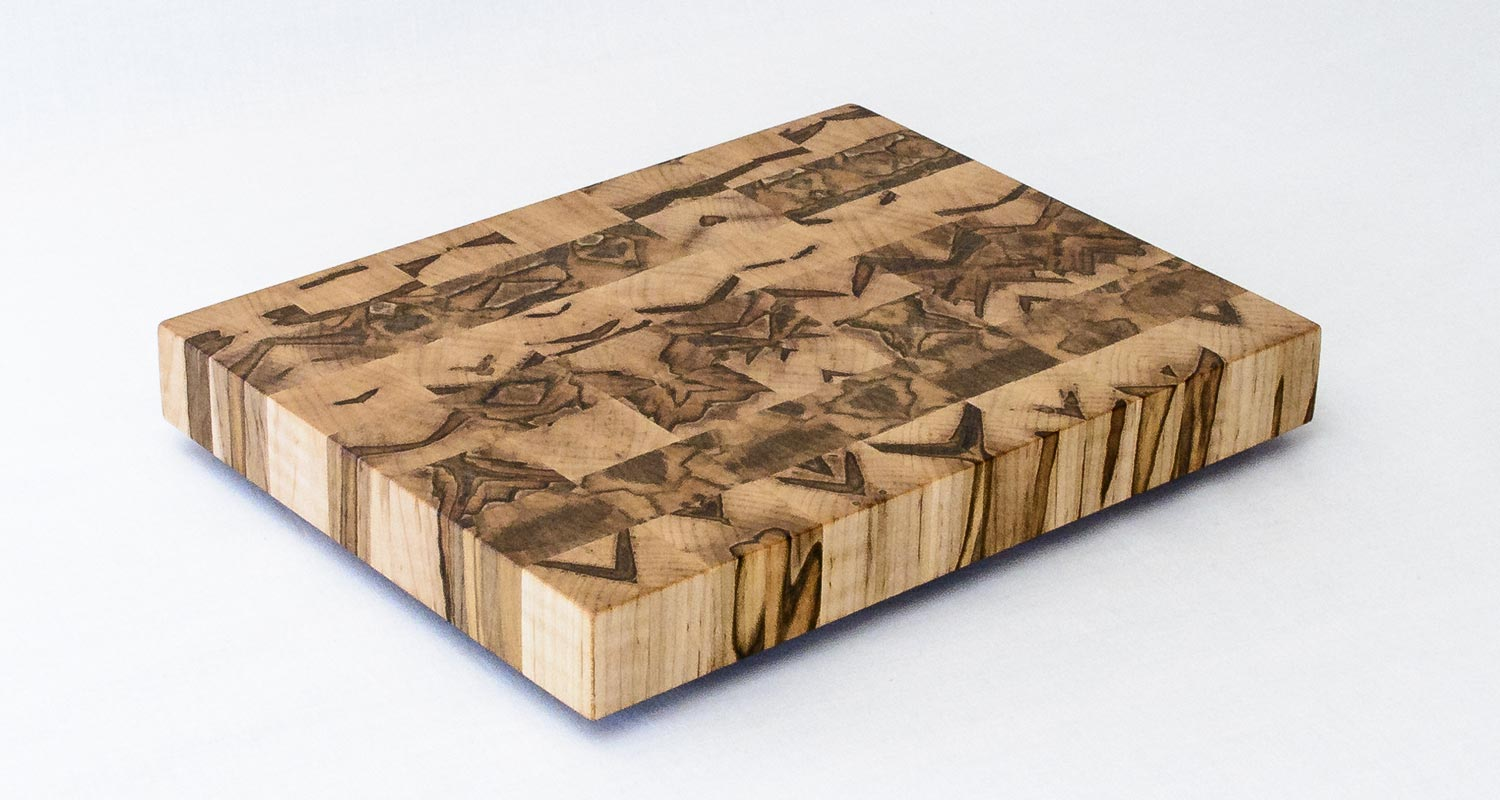 End Grain Cutting Board — Ambrosia Maple — Front Isometric View