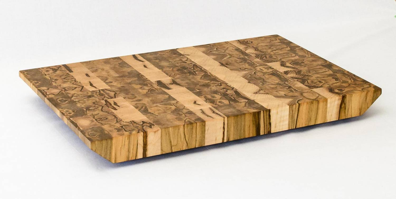 End Grain Serving Board — Ambrosia Maple — Front Isometric View
