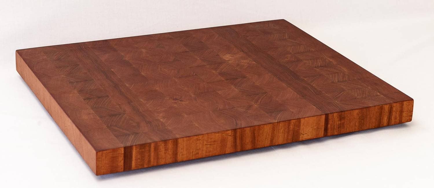 End Grain Mahogany Cutting Board  — Front Isometric View