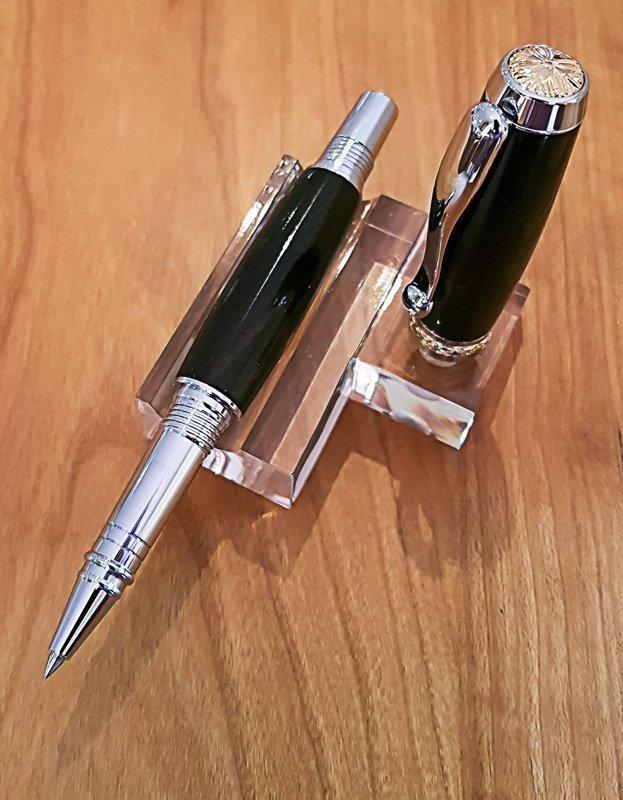 TRITON – Rollerball Pen – Chrome with Titanium Gold Accents – Wood – Mai Mun Ebony
