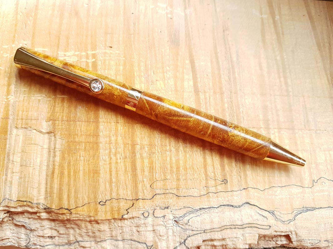 REGAL – Pens – Chrome – Wood – Spalted Maple Burl — Amber
